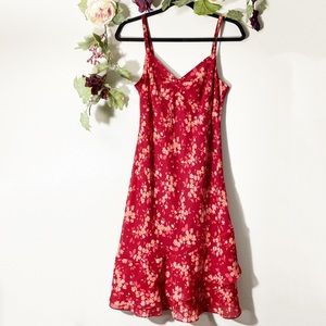 Ann Taylor Loft Red Floral Ruffle Slip Midi Dress